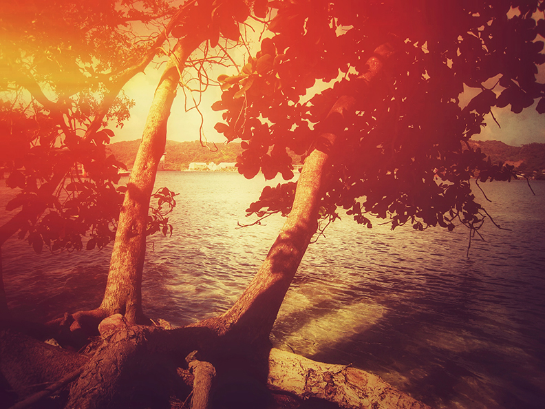 island getaway sunset light leak kaplan